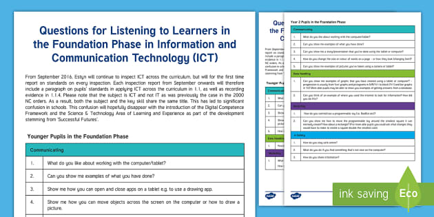 Questions for ICT in Foundation Phase from ESTYN A4 Display Poster - Digital Competence Framework, DCF  Wales, ICT, ICT in Foundation Phase, Digital Competence, Assessme