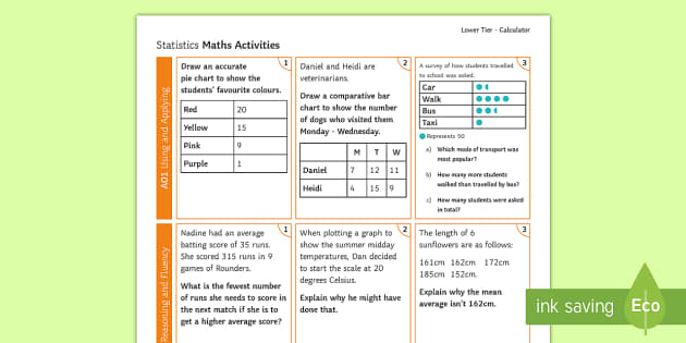 Foundation Statistics Calculator Activity Mat Using