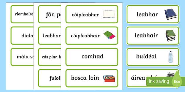 In My School Bag Word Cards Gaeilge