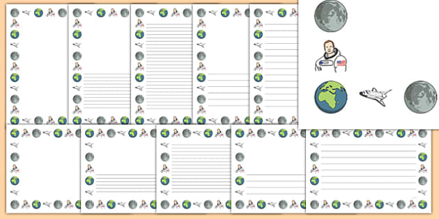 Neil Armstrong Page Borders - neil armstrong, page borders, borders, themed page borders, writing frames, writing templates, writing aid, line guide, guide