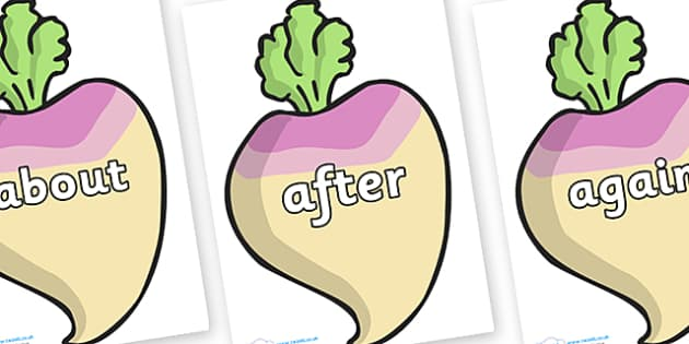 KS1 Keywords on Turnips - KS1, CLL, Communication language and literacy, Display, Key words, high frequency words, foundation stage literacy, DfES Letters and Sounds, Letters and Sounds, spelling