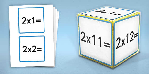 Giant Foam Dice Squares 2 Times Tables - foam dice, squares, 2