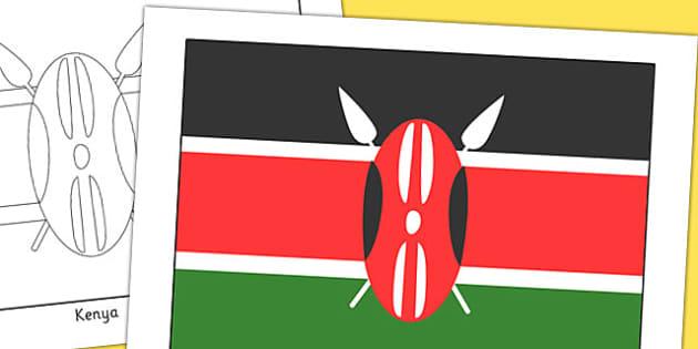 Kenya Flag Display Poster - geography, countries, display, kenya