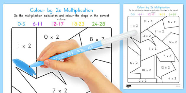 Colour by 2s Multiplication - australia, colour, 2s, multiplication, maths