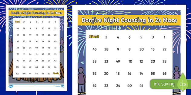 Bonfire Night Counting in 2s Maze Activity Sheet, worksheet