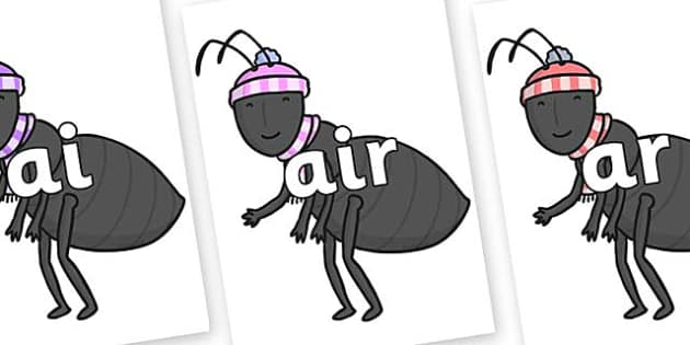 Phase 3 Phonemes on Ant - Phonemes, phoneme, Phase 3, Phase three, Foundation, Literacy, Letters and Sounds, DfES, display