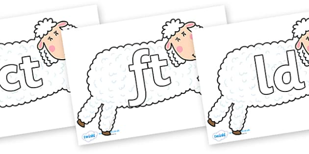 Final Letter Blends on Hullabaloo Sheep to Support Teaching on Farmyard Hullabaloo - Final Letters, final letter, letter blend, letter blends, consonant, consonants, digraph, trigraph, literacy, alphabet, letters, foundation stage literacy