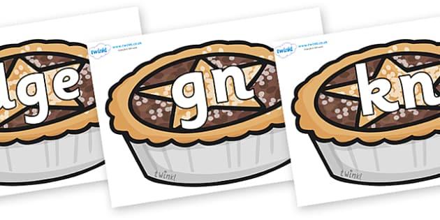 Silent Letters on Mince Pies - Silent Letters, silent letter, letter blend, consonant, consonants, digraph, trigraph, A-Z letters, literacy, alphabet, letters, alternative sounds