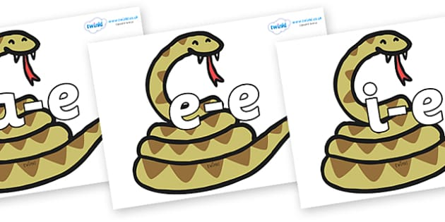 Modifying E Letters on Snakes - Modifying E, letters, modify, Phase 5, Phase five, alternative spellings for phonemes, DfES letters and Sounds