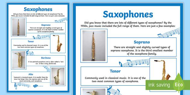 Types of Saxophones Poster - types, saxophones, poster, display