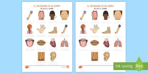 Mi cuerpo - Escritura de vocabulario - Ficha de actividad - Mi cuerpo, proyecto, conocimiento de mí mismo, escritura, ,Spanish, las partes del cuerpo