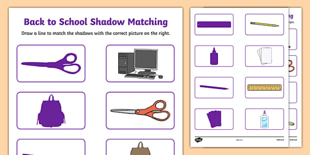 Back to School Shadow Matching Activity Sheet, worksheet