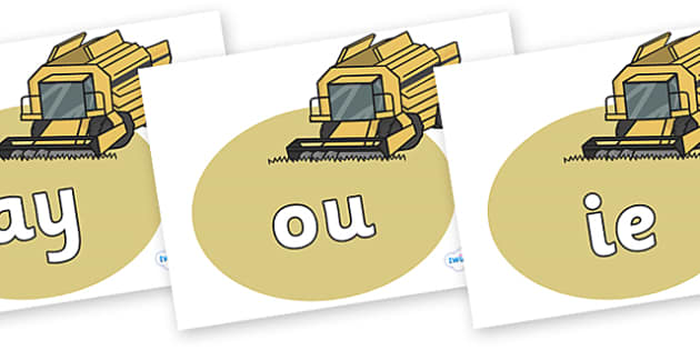 Phase 5 Phonemes on Combine Harvesters - Phonemes, phoneme, Phase 5, Phase five, Foundation, Literacy, Letters and Sounds, DfES, display