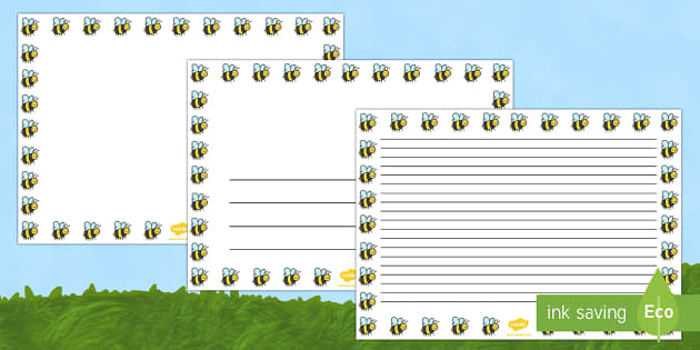Bee Full Page Borders (Landscape) - page borders, bee page borders, bee borders for page, minibeast page border, landscape, A4, border for page, lined page