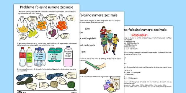 Probleme folosind numere zecimale, Fisa cu suport imagistic  , worksheet
