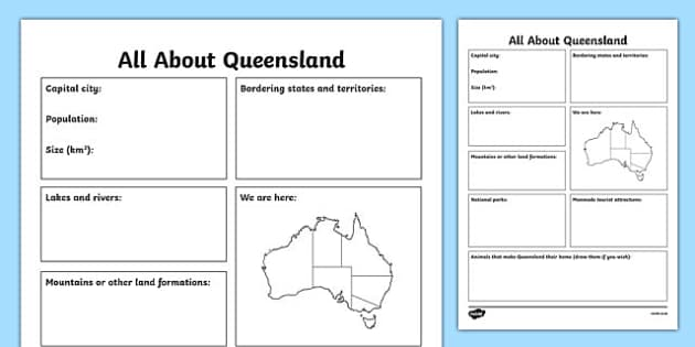 All About Queensland Research Activity Sheet - australia, Geography, research, questions, questioning, answers, Queensland, Brisbane, facts, states, territories, Australia, worksheet