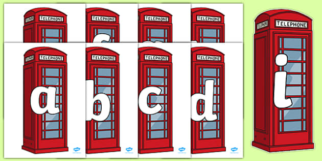 Alphabet on Red Telephone Boxes - alphabet, red, telephone, box, telephone box