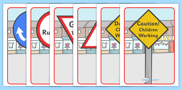 Classroom Road Display Signs - Good manners, good behaviour, class management, behaviour management, SEN, polite, indoor voice, giving way, no running, road signs