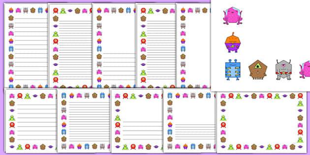2D Shape Aliens Page Borders - 2d shape, aliens, page borders