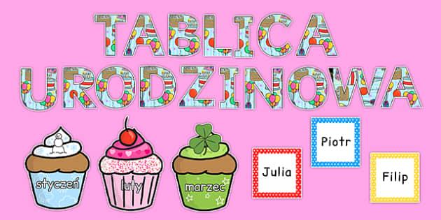 Tablica urodzinowa po polsku - przedszkole, zerówka