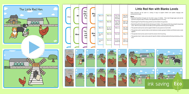 Little Red Hen with Blanks Level Questions - Blanks Levels, Language for Thinking, receptive language, verbal reasoning, questions, inference, sp