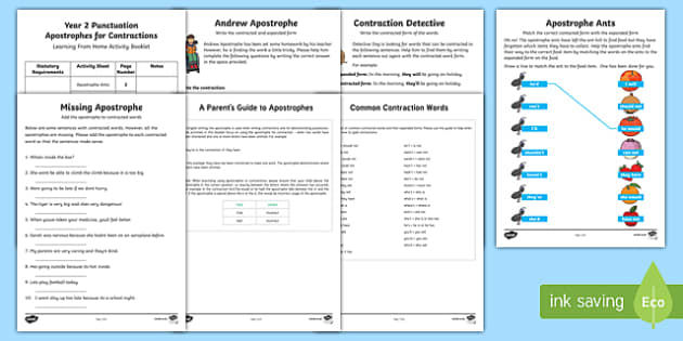 Year 2 Punctuation: Apostrophes for Contraction Activity Booklet