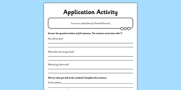 Person Pronoun I Application Sheet - GPS, spelling, punctuation, grammar, personal pronoun