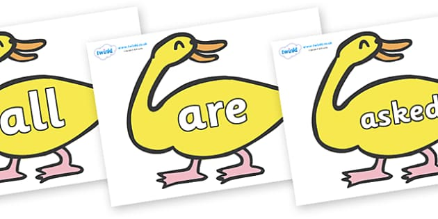 Tricky Words on Yellow Duck to Support Teaching on Brown Bear, Brown Bear - Tricky words, DfES Letters and Sounds, Letters and sounds, display, words