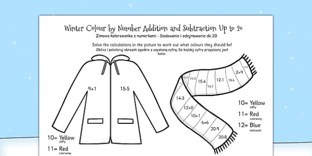 Winter Colour by Number Addition and Subtraction Up to 20 Polish Translation - polish, winter, colour, number, addition, subtraction, up to 20