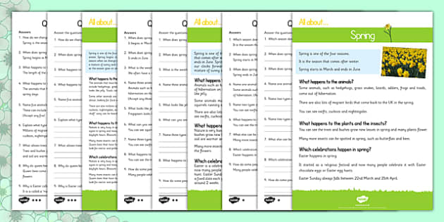 Spring Reading Differentiated Comprehension Activity Sheet Pack, worksheet