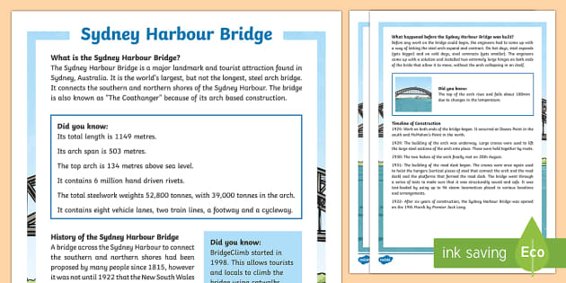 Sydney Harbour Bridge Fact File - Sydney Australia, harbour bridge, information, fact sheet, facts, sydney, australia, sydney harbour