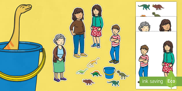 Story Cut Outs to Support Teaching on Harry and the Bucketful of Dinosaurs - stories