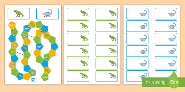 Dinosaur Themed Editable Board Game - dinosaurs, board games