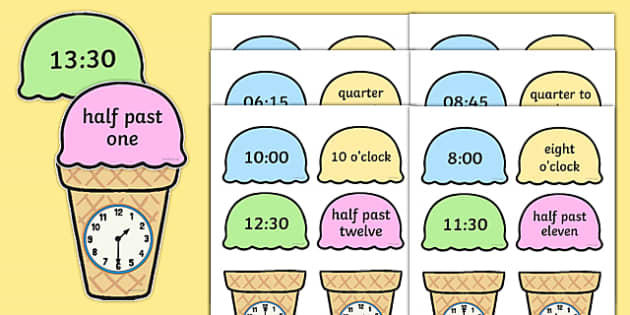 Telling the Time Ice Cream Cone Matching Activity - telling the time, ice cream cone, matching, activity