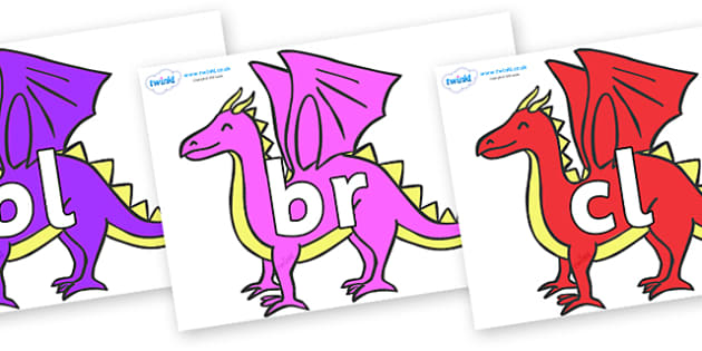 Initial Letter Blends on Dragons - Initial Letters, initial letter, letter blend, letter blends, consonant, consonants, digraph, trigraph, literacy, alphabet, letters, foundation stage literacy