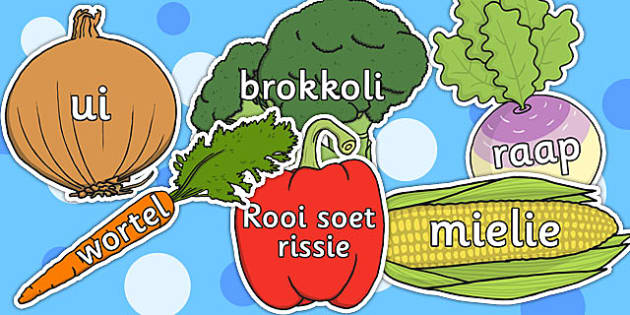 Afrikaans Vegetable Words on Vegetables - afrikaans, vegetable