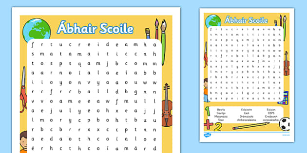Word Search Ábhair Scoile Gaeilge - wordsearch, gaeilge, irish, subjects, ábhair scoile