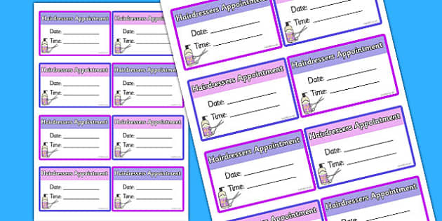 Hairdressers Appointment Cards - hairdressers, appointment, cards, role-play