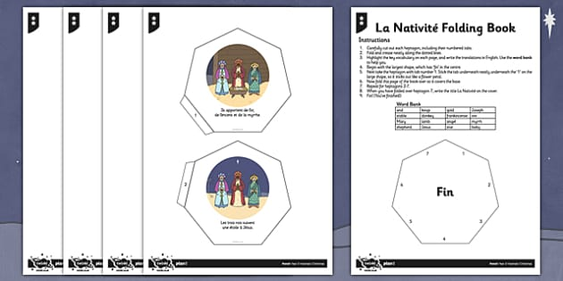 French Activity Sheet La Nativité Folding Book - french, la nativite, activity, folding book, worksheet