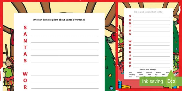 KS1 Santa's Workshop Acrostic Poem