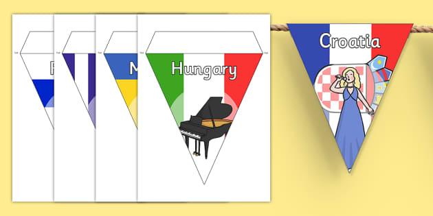 Eurovision Countries Flag Bunting - eurovision, competition, singing competition, sing, song, europe, countries, flag, bunting