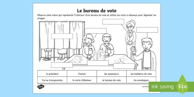 feuille d 39 activit s le bureau de vote les lections. Black Bedroom Furniture Sets. Home Design Ideas
