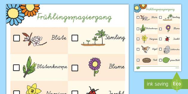 Frühlingsspaziergang Aktivität - Frühling, Jahreszeiten, Spaziergang,German