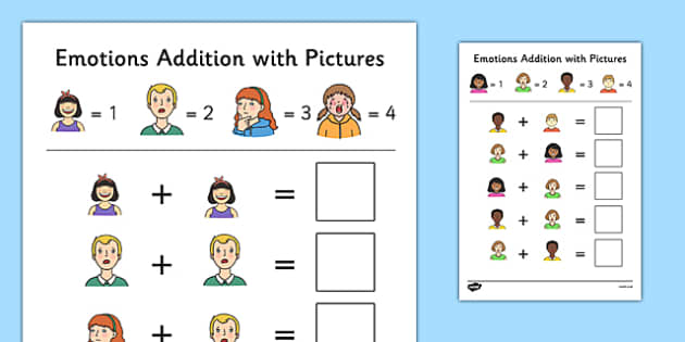 Emotions Themed Addition with Pictures Activity Sheet Pack - themed, addition, pictures, activity, sheets, emotions, worksheet