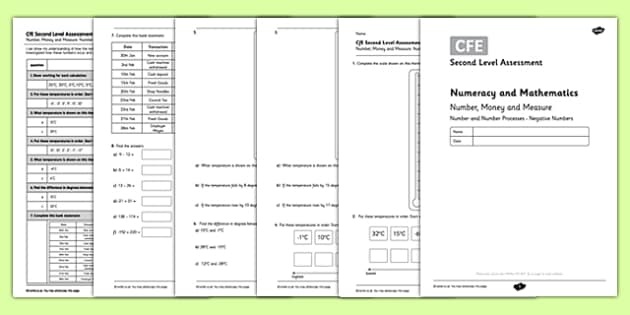 Second Level Assessment Numeracy and Mathematics Number Money and Measure Negative Numbers - CfE, assessment, number line, negative numbers, temperature