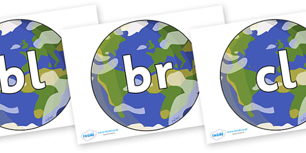 Initial Letter Blends on Planet Earth - Initial Letters, initial letter, letter blend, letter blends, consonant, consonants, digraph, trigraph, literacy, alphabet, letters, foundation stage literacy