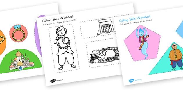 Aladdin Cutting Skills Worksheet - worksheets, motor skills