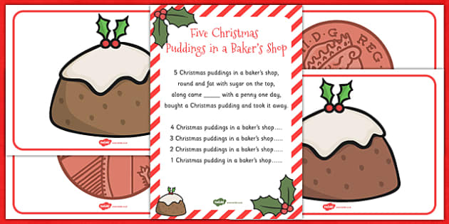 Five Christmas Puddings in a Bakers Shop Song Pack - song, pack