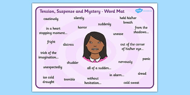 Words Phrases to Create Tension Suspense and Mystery Word Mat