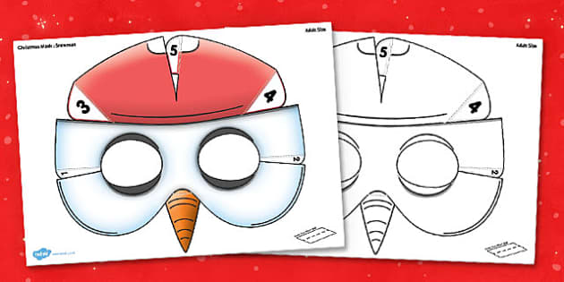 3D Christmas Snowman Mask Printable - 3d, christmas, snowman, mask, printable